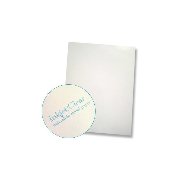 """Papier à décalcomanies pour imprimante jet d'encre format """"letter"""" fond transparent, la feuille"""