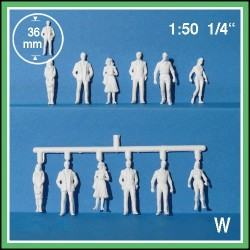 Personnages 3D 1:50. 12 figurines blanches, debout