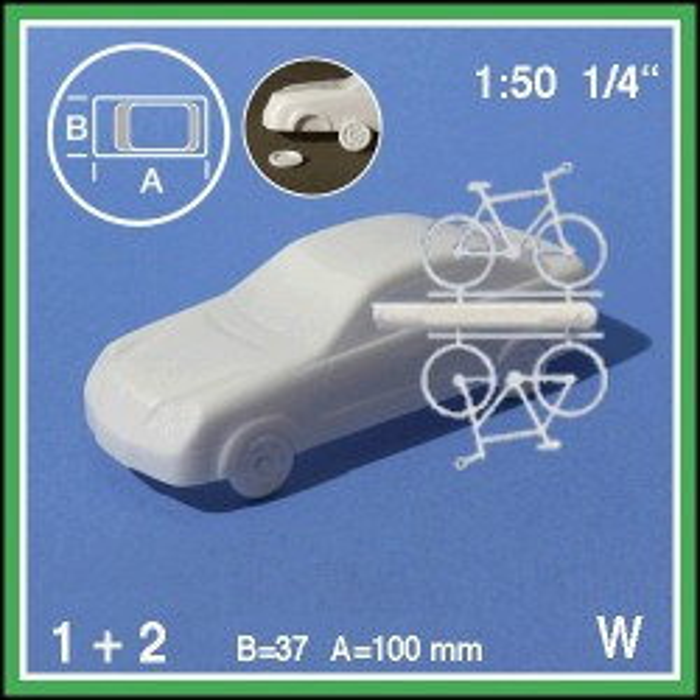 Voiture + 2 bicyclettes 1:50. Les pneus doivent être collés