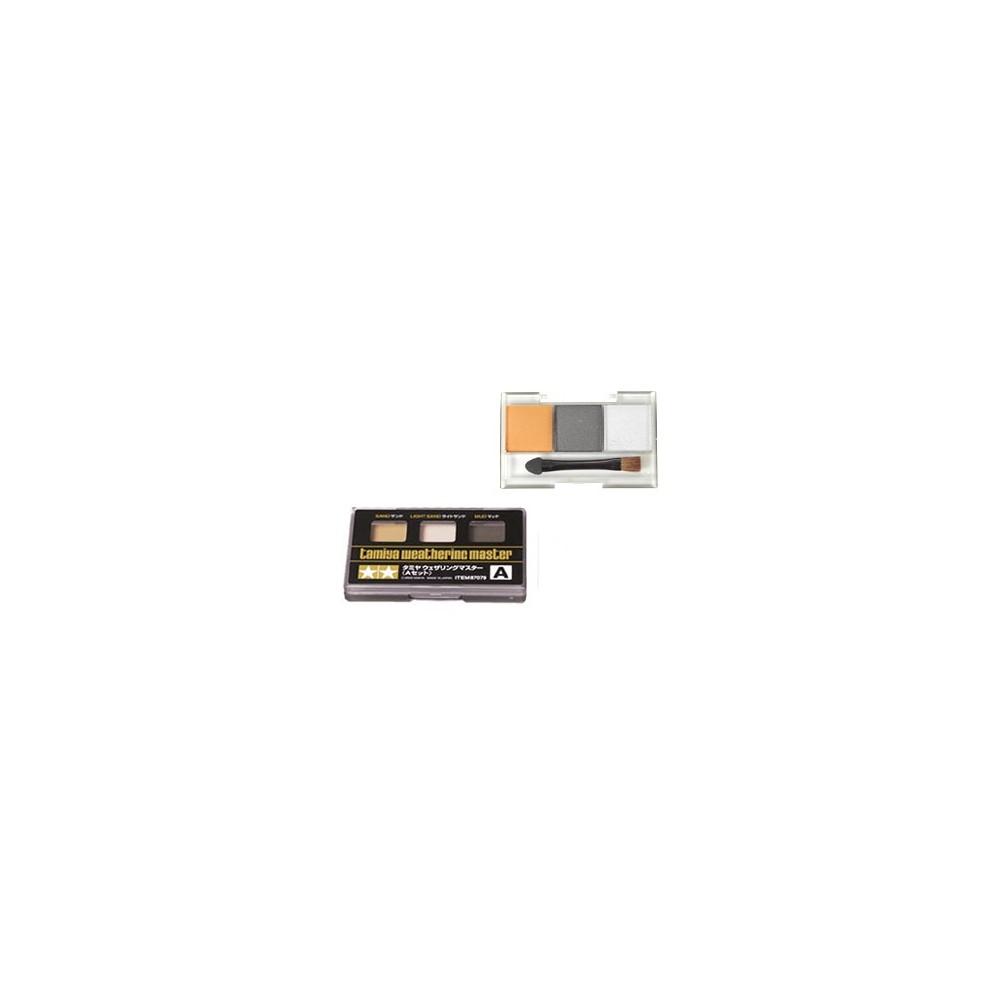 Palette de pastels secs métalisés pour les finitions Coloris : Rouille orangée, Gris métal foncé, Argent